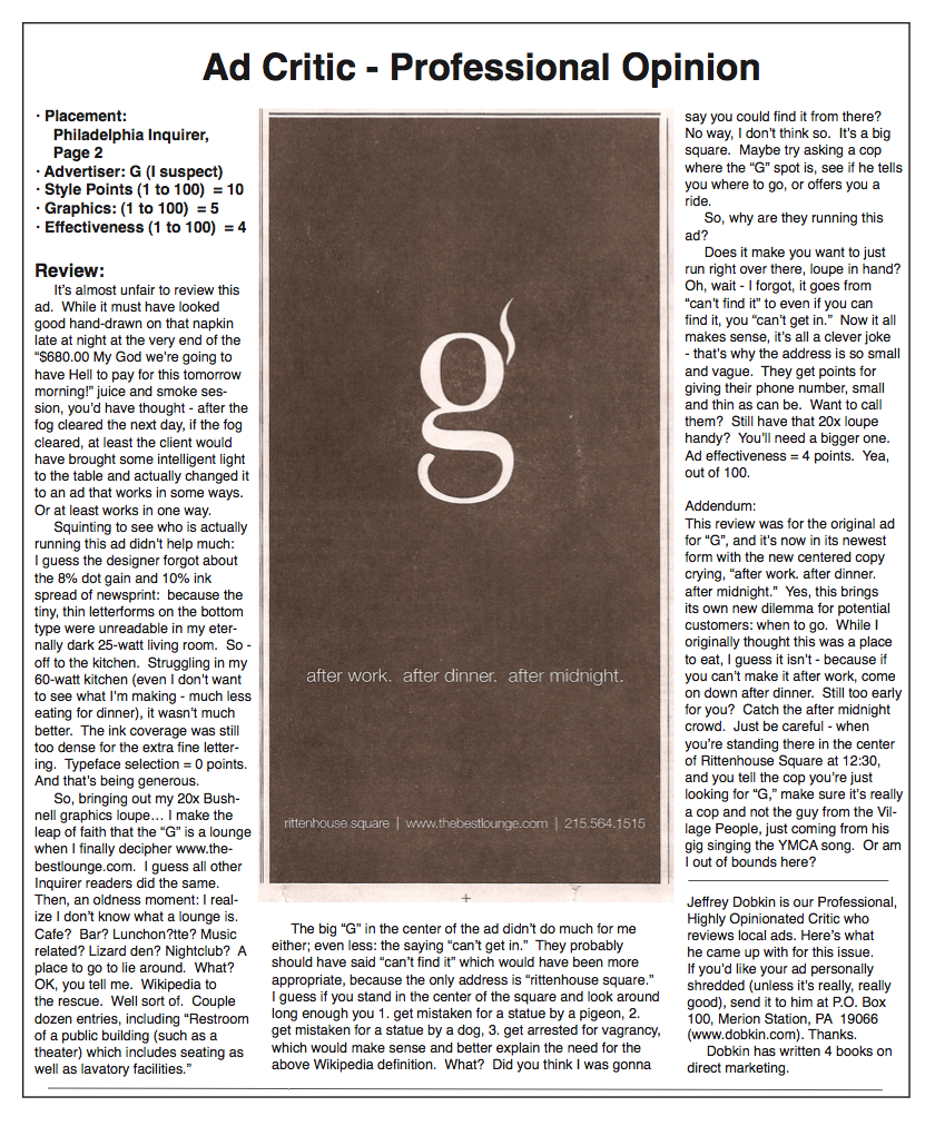 Ad critic review of G